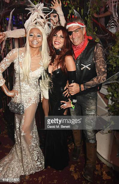 Emma McQuiston Viscountess of Weymouth Lisa Tchenguiz and Steve Varsano attend Halloween at Annabel's at 46 Berkeley Square on October 29 2016 in...