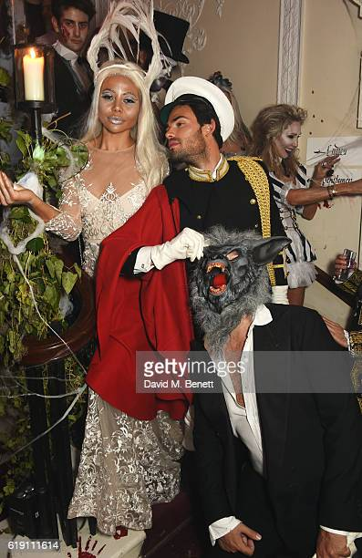 Emma McQuiston Viscountess of Weymouth MarkFrancis Vandelli and guest attend Halloween at Annabel's at 46 Berkeley Square on October 29 2016 in...