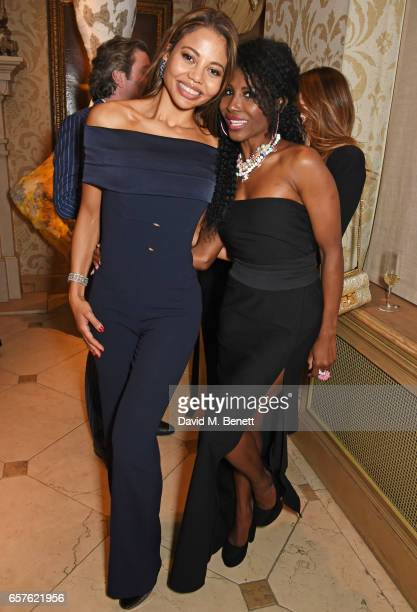 Emma McQuiston Viscountess Weymouth and Sinitta attend Lisa Tchenguiz's party hosted by Fatima Maleki in Mayfair on March 24 2017 in London England