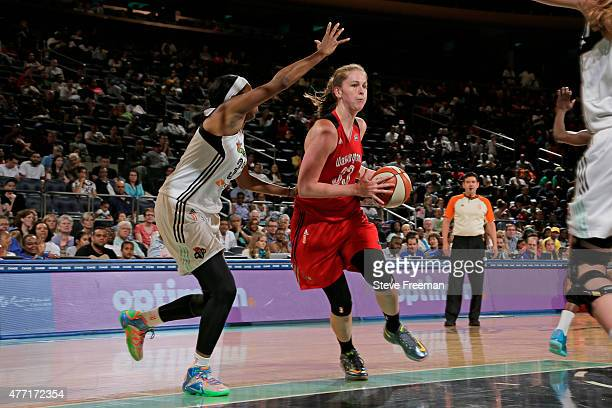 Emma Meesseman of the Washington Mystics drives to the basket against the New York Liberty on June 14 2015 at Madison Square Garden in New York New...