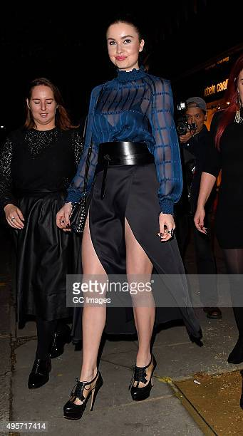 Emma Miller leaves Roberto Cavalli Store in Knightsbridge after their Disaronno launch party on November 4 2015 in London England