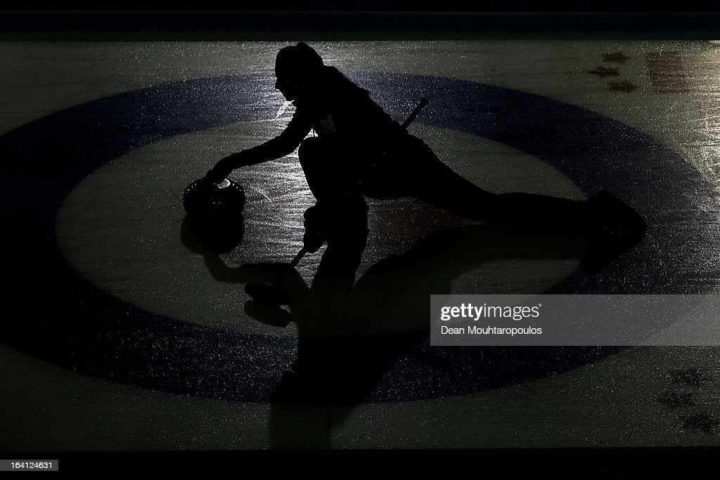 Emma Miskew of Canada throws a stone in the match between Canada and Germany on Day 5 of the Titlis Glacier Mountain World Women's Curling Championship at the Volvo Sports Centre on March 20, 2013 in Riga, Latvia.