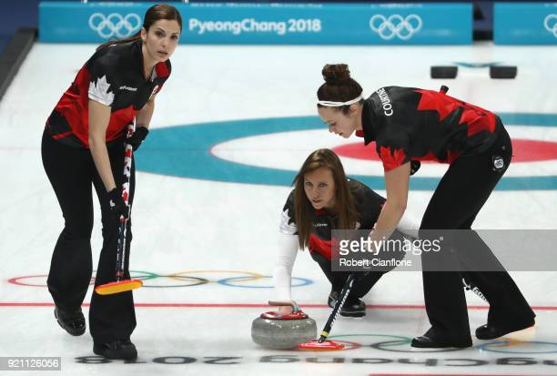 Emma Miskew, Rachel Howman and Joanne Courtney of Canada compete the Women's Round Robin Session 10 on day eleven of the PyeongChang 2018 Winter...