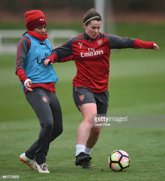 Emma Mitchell and Alex Scott of Arsenal Women during the Arsenal Womens Training Session at London Colney on November 29 2017 in St Albans England