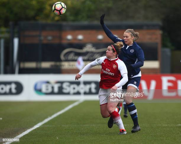 LR Emma Mitchell of Arsenal and Rianna Dean of Millwall Lionesses L during The FA Women's Cup Fifth Round match between Arsenal against Millwall...