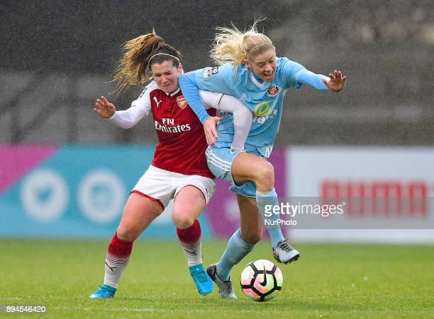 Emma Mitchell of Arsenal battles for possession with Keira Ramshaw of Sunderland AFC Ladies during Women's Super League 1 match between Arsenal...