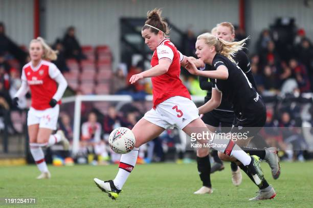 Emma Mitchell of Arsenal shoots and scores her team's eleventh goal during the Barclays FA Women's Super League match between Arsenal and Bristol...