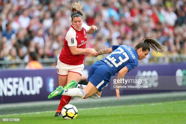 Emma Mitchell of Arsenal throws Ramona Bachmann of Chelsea to the ground as they battle for the ball during the SSE Women's FA Cup Final between...