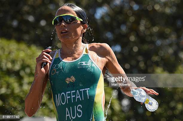 Emma Moffatt of Australia pours water on her face during the run portion of the ITU World Triathlon Series on April 9 2016 in Gold Coast Australia