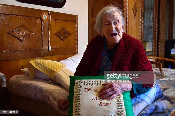 Emma Morano poses for AFP photographer in Verbania North Italy on May 14 2016 Emma Morano is the oldest living person in the world and the only one...