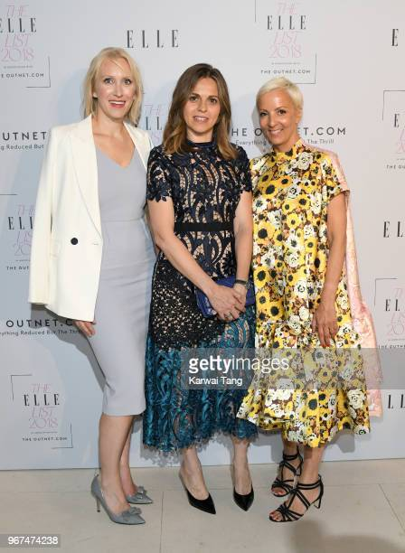 Emma Mortimer Alessandra Rossi and AnneMarie Curtis attend The ELLE List 2018 at Spring at Somerset House on June 4 2018 in London England