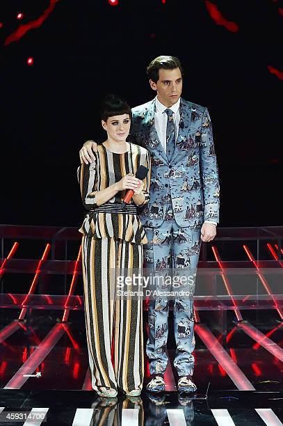 Emma Morton and Mika attend 'X Factor' TV Show on November 20 2014 in Milan Italy