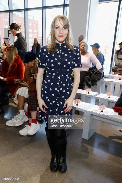 Emma Myles attends Leanne Marshall show during February 2018 New York Fashion Week The Shows at Gallery II at Spring Studios on February 14 2018 in...
