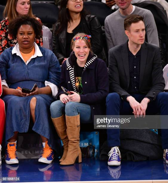 Emma Myles attends the New York Knicks Vs Dallas Mavericks game at Madison Square Garden on March 13 2018 in New York City