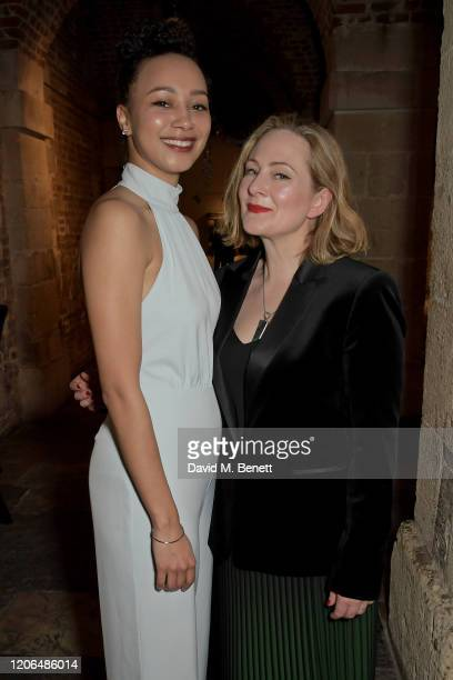 Emma Naomi and Lucy Robinson attend the press night after party for Blithe Spirit at The Cafe at the Crypt on March 10 2020 in London England