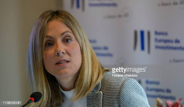 Emma Navarro European Investment Bank VicePresident in charge of Portugal delivers remarks during a press conference to inform on the bank financial...