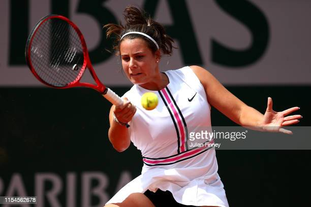 Emma Navarro of The United States plays a forehand during the girls juniors final against Leylah Annie Fernandez of Canada during Day fourteen of the...