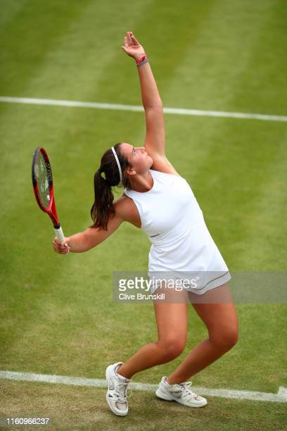Emma Navarro of the United States serves in her Girl's Singles second round match against Selena Janicijevic of France during Day Eight of The...