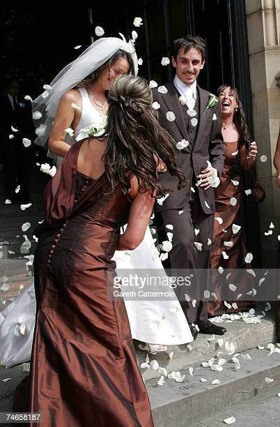 Emma Neville and Gary Neville leave Manchester Cathedral after their wedding on June 16 2007 in Manchester England