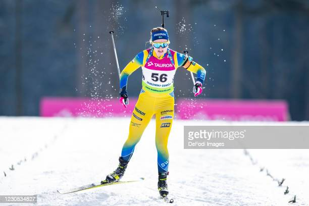 Emma Nilsson of Sweden in action competes during the Women 15 km Individual Competition at the IBU Open European Championships Duszniki Zdroj at on...