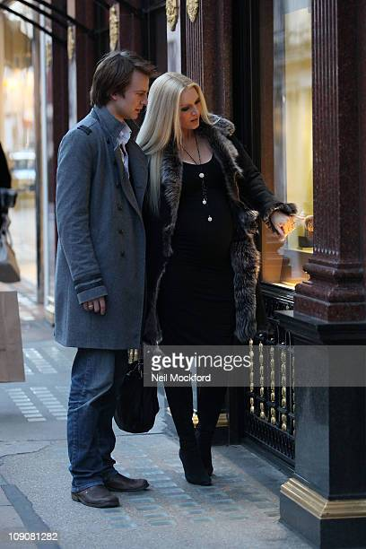 Emma Noble and her fiance Conrad Baker are seen shopping for wedding rings at Tiffany Co ahead of their September wedding on February 14 2011 in...