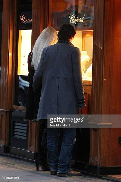 Emma Noble and her fiance Conrad Baker are seen shopping for wedding rings at Chopard ahead of their September wedding on February 14 2011 in London...