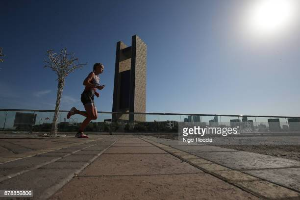Emma Pallant of Britain competes in the run section of Ironman 703 Middle East Championship Bahrain on November 25 2017 in Bahrain Bahrain