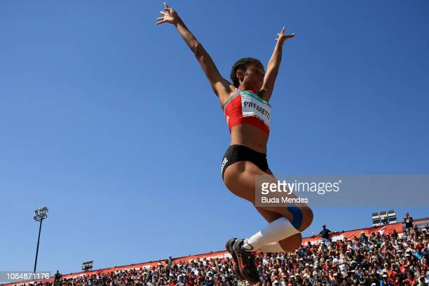 Emma Piffaretti of Switzerland competes in Women's Long Jump Stage 2 during day 8 of Buenos Aires 2018 Youth Olympic Games at Youth Olympic Park...