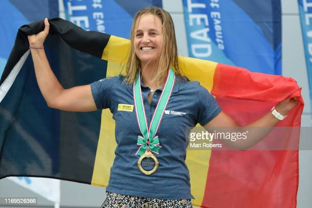 Emma Plasschaert of Belgium celebrates during the medal ceremony of the Women's Laser Radial class gold medal race on day 6 of the Sailing Tokyo 2020...
