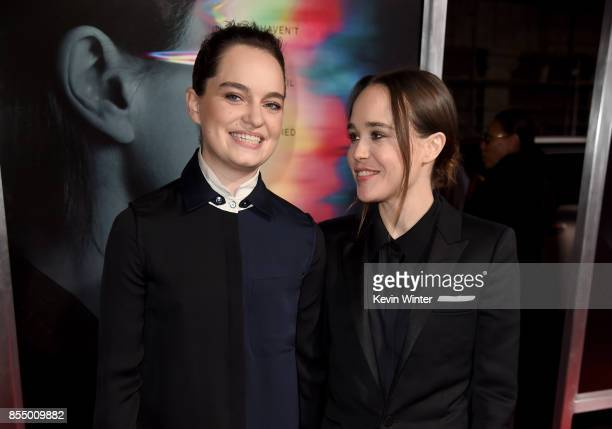 "Emma Portner and actress Ellen Page arrive at the premiere of Columbia Pictures' ""Flatliners"" at the Ace Theatre on September 27, 2017 in Los..."