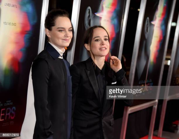 Emma Portner and actress Ellen Page arrive at the premiere of Columbia Pictures' Flatliners at the Ace Theatre on September 27 2017 in Los Angeles...