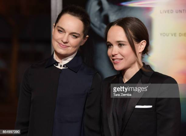 Emma Portner and Ellen Page attend the premiere of Columbia Pictures' 'Flatliners' at The Theatre at Ace Hotel on September 27 2017 in Los Angeles...