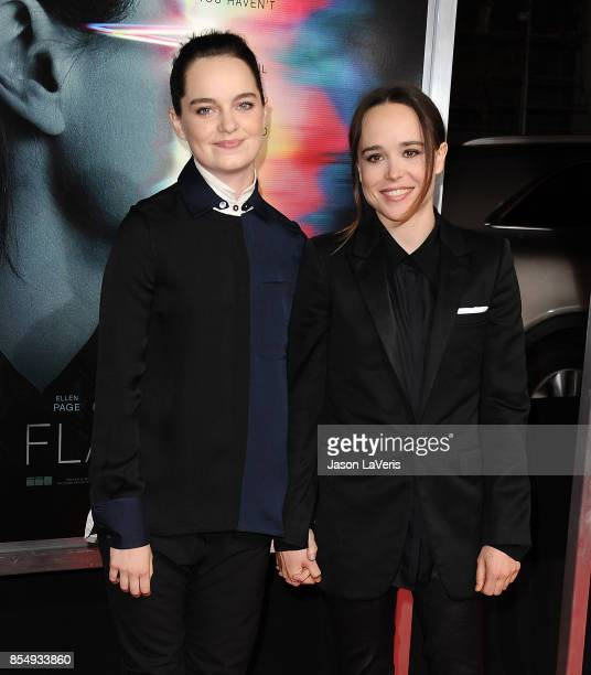 Emma Portner and Ellen Page attend the premiere of Flatliners at The Theatre at Ace Hotel on September 27 2017 in Los Angeles California
