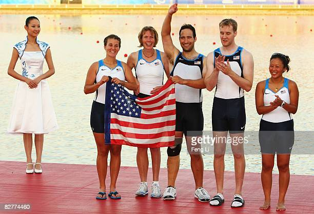 Emma Preuschl Tracy Tackett Jesse Karmazin Jamie Dean and Simona Chin of USA win the Silver in the Rowing Mixed Coxed Four LTA Final at Shunyi...