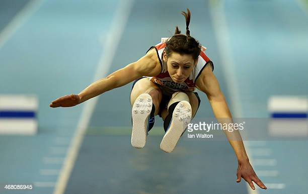 Emma Pringle in action in the women's triple jump final at the Sainsbury's British Athletics Indoor Championships on February 9 2014 in Sheffield...