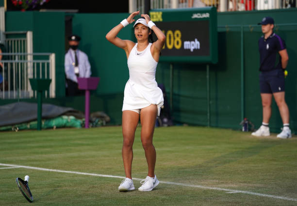 Emma Raducanu celebrates victory against Marketa Vondrousova in the second round match on court 12 on day four of Wimbledon on day four of Wimbledon...