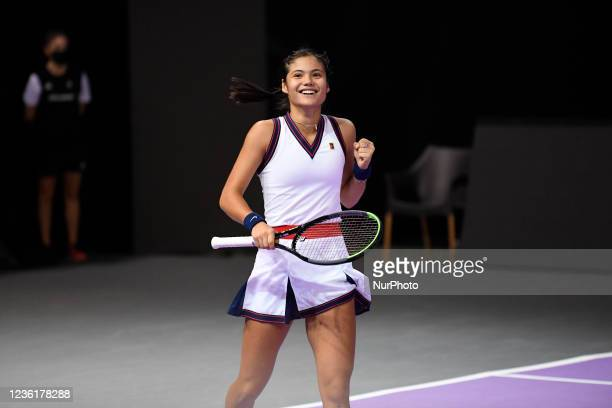 Emma Raducanu celebrating after scoring against Polona Hercog on the fourth day of WTA 250 Transylvania Open Tour held in BT Arena, Cluj-Napoca 27...