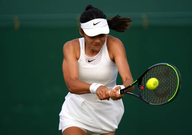 Emma Raducanu in action against Marketa Vondrousova in the second round match on court 12 on day four of Wimbledon at The All England Lawn Tennis and...