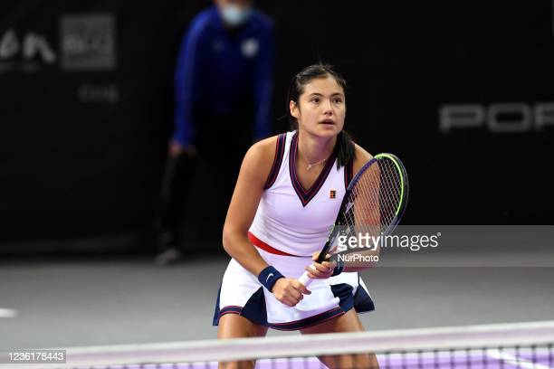 Emma Raducanu, in action - preparing to receive the ball in her match against Polons Hercog on day four of WTA 250 Transylvania Open Tour held in BT...