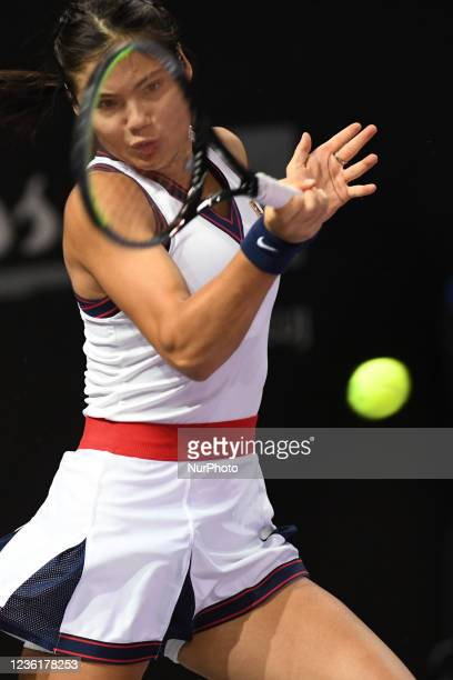 Emma Raducanu, in action - receiving the ball in her match against Polons Hercog on day four of WTA 250 Transylvania Open Tour held in BT Arena,...