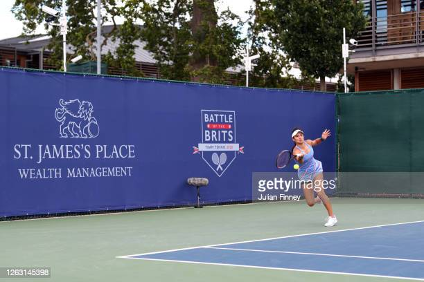 Emma Raducanu of British Bulldogs in action during her women's singles match against Jodie Burrage of Union Jacks during day six of the St James's...
