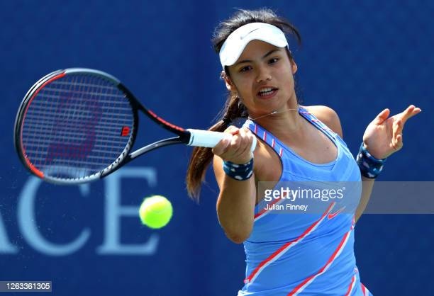 Emma Raducanu of British Bulldogs plays a forehand in her singles match against Naomi Broady of Union Jacks during day seven of the St James's Place...