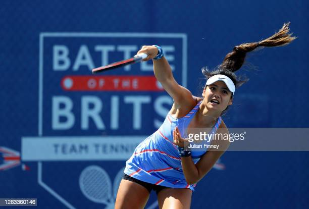 Emma Raducanu of British Bulldogs serves in her singles match against Naomi Broady of Union Jacks during day seven of the St James's Place Battle Of...