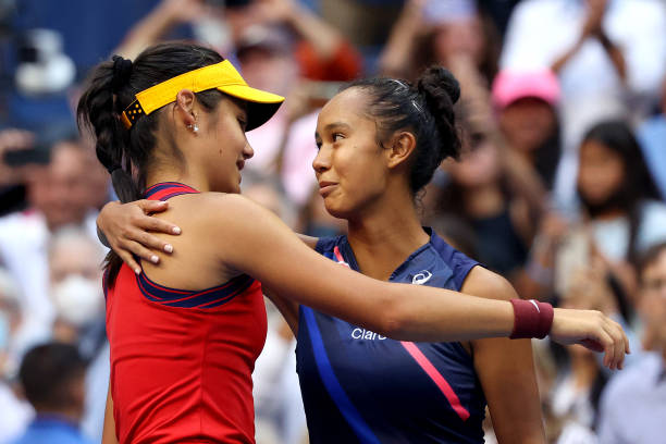 Emma Raducanu of Great Britain and Leylah Annie Fernandez of Canada embrace after Raducanu's win during their Women's Singles final match on Day...