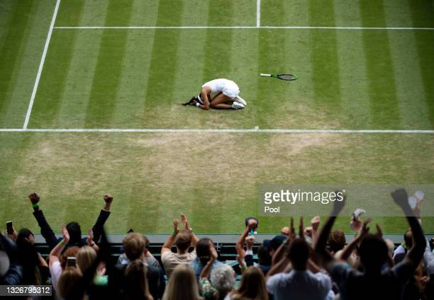Emma Raducanu of Great Britain celebrates match point during her Ladies' Singles third Round match against Sorana Cirstea of Romania during Day Six...