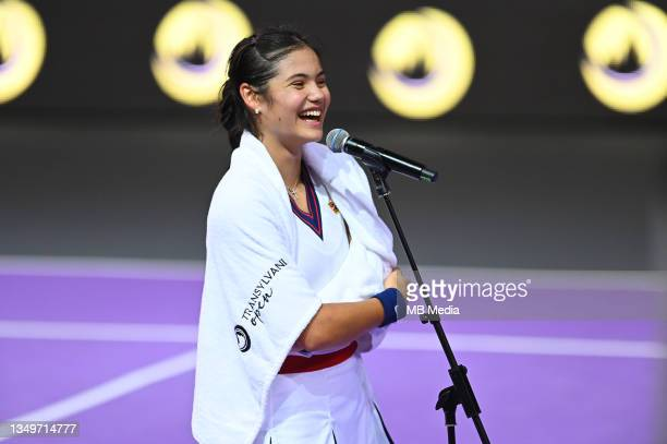 Emma Raducanu of Great Britain is interviewed after winning her match against Ana Bogdan of Romania in the WTA 250 Transylvania Open Tour held in BT...