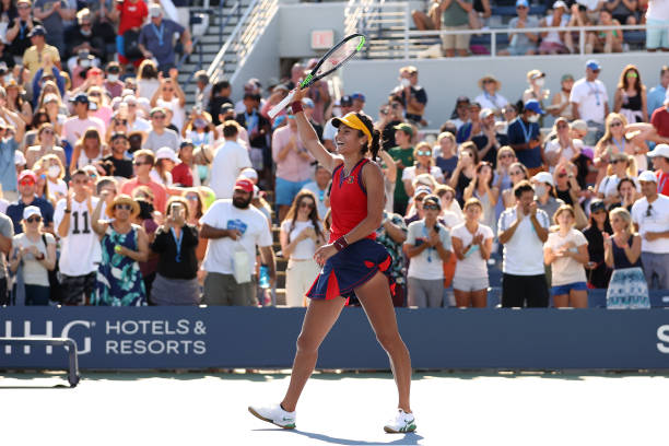 Emma Raducanu of the United Kingdom celebrates after defeating Sara Sorribes Tormo of Spain during her Women's Singles third round match on Day Six...
