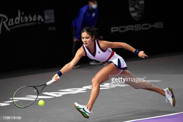 Emma Raducanu receiving the ball, in action during her match against Polona Hercog on the fourth day of WTA 250 Transylvania Open Tour held in BT...