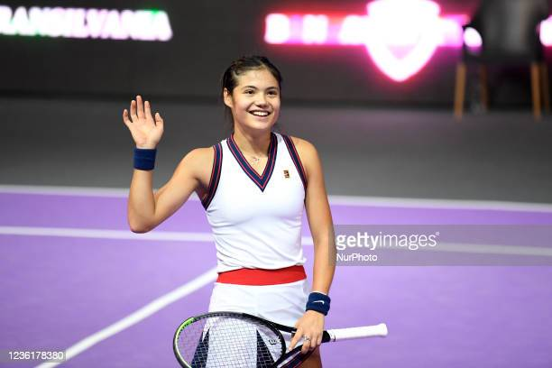 Emma Raducanu waving at the public after scoring against Polona Hercog on the fourth day of WTA 250 Transylvania Open Tour held in BT Arena,...