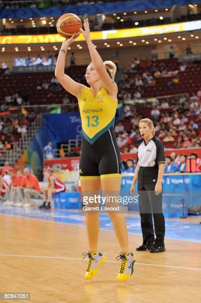 Emma Randall of Australia shoots a jumper during the 2008 Beijing Summer Olympics against the Czech Republic on August 19 2008 at the Beijing Olympic...